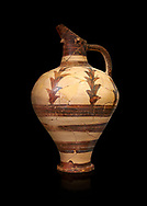 Minoan decorated jug for export, Kommos Harbour 1600-1450 BC; Heraklion Archaeological  Museum, black background. .<br /> <br /> If you prefer to buy from our ALAMY PHOTO LIBRARY  Collection visit : https://www.alamy.com/portfolio/paul-williams-funkystock/minoan-art-artefacts.html . Type -   Heraklion   - into the LOWER SEARCH WITHIN GALLERY box. Refine search by adding background colour, place, museum etc<br /> <br /> Visit our MINOAN ART PHOTO COLLECTIONS for more photos to download  as wall art prints https://funkystock.photoshelter.com/gallery-collection/Ancient-Minoans-Art-Artefacts-Antiquities-Historic-Places-Pictures-Images-of/C0000ricT2SU_M9w