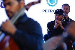 November 7, 2018 - Sao Paulo, Sao Paulo, Brazil - Sao Paulo, Sao Paulo, Brazil - Nov, 2018 - LEWIS HAMILTON a five-time Formula One world champion by the Mercedes-AMG Petronas Motorsports team attends a performance of the orchestra conducted by maestro JOAO CARLOS MARTINS, made in his honor after a press conference launching the new line of lubricants from his team's sponsor Petronas Lubrificants International.  Sao Paulo, Brazil, November 7, 2018. (Credit Image: © Marcelo Chello/ZUMA Wire)