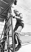 Jimmy Carter climbs the race starters tower to start a NASCAR race  at the Atlanta International Speedway.
