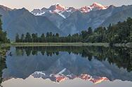Oceania; New Zealand; Aotearoa; South Island; West Coast,  South Westland, Lake Matheson, near the town of Fox Glacier