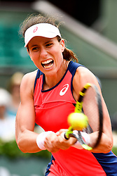 PARIS, May 30, 2017  Johanna Konta of Britain returns a shot during the women's singles first round match against Hsieh Su Wei of Chinese Taipei at the French Open Tennis Tournament 2017 in Paris, France on May 30, 2017. (Credit Image: © Chen Yichen/Xinhua via ZUMA Wire)