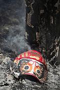 Mask on ash during Fire Festival in Nozawaonsen, Japan