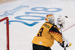 PYEONGCHANG, Feb. 25, 2018  Germany's goalie Danny Aus Den Birken saves the puck during the men's ice hockey final against Olympic athletes from Russia at Gangneung Hockey Centre, in Gangneung, South Korea, Feb. 25, 2018. Germany lost the final 3-4 and took the second place. (Credit Image: © Wu Zhuang/Xinhua via ZUMA Wire)