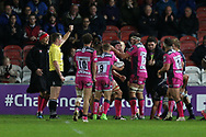 Gloucester no 8 Ben Morgan (8) celebrates his try with his  players 17-3 first half during the European Rugby Challenge Cup match between Gloucester Rugby and SU Agen at the Kingsholm Stadium, Gloucester, United Kingdom on 19 October 2017. Photo by Gary Learmonth.