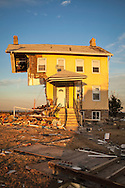Union Beach NJ, November 16,  Home on Front Strret destroyed by superstorm Sandy's surge, that damaged over 200 homes in Union Beach alone. Hurricane Sandy's strength is being blamed on climate change by many scientists.