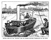 """Captain Jinks (of the """"Selfish"""") and his friends enjoying themselves on the river."""