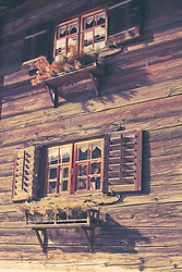Facade of old wooden house