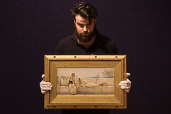 Bonhams, London, February 22nd 2017. Bonhams in London hold a press preview ahead of their 19th century paintings sale, featuring numerous valuable works including:<br /> • 'Children by the shore' by Dorothea Sharp, valued at £60,000-80,000<br /> • Barcas y pescaadores, Playa de Valencia by Joaquin Sorolla £60,000-80,000<br /> • When the Boats Come In by Walter Osborne valued at £100,000-150,000<br /> • A Solicitation by Lawrence Alma-Tadema which is expected to fetch between £30,000-50,000<br /> PICTURED: A gallery porter handles A Solicitation by Lawrence Alma-Tadema
