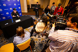Michigan Wolverines head coach Jim Harbaugh speaks with the media at the Hyatt Regency on Monday, December 24, 2018 in Atlanta. Michigan will face Florida in the 2018 Peach Bowl on December 29, 2018. (Jason Parkhurst via Abell Images for the Chick-fil-A Peach Bowl)