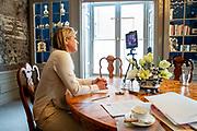 """DEN HAAG, 23-09-2020, Paleis Huis ten Bosch<br /> <br /> Koningin Maxima neemt als UNSGSA deel aan de digitale AVVN-conferentie 'G7 Partnership for Women's Digital Financial Inclusion in Africa'. Zij houdt een keynote toespraak. <br /> <br /> As UNSGSA, Queen Maxima participates in the UNGA digital conference """"G7 Partnership for Women's Digital Financial Inclusion in Africa"""". She will deliver a keynote speech."""