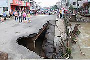 JINHUA, CHINA - JUNE 22: (CHINA OUT) <br /> <br /> Floods In China<br /> <br /> A general view of a collapsed bridge crashed by flood at Huilong river of Shitang county on June 22, 2014 in Guilin, Guangxi Zhuang autonomous region of China. <br /> ©Exclusivepix