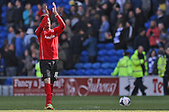Fraizer Campbell of Cardiff applauds the supporters at the end of the game. Barclays Premier league match, Cardiff city  v Stoke city at the Cardiff city stadium in Cardiff, South Wales on Saturday 19th April 2014. pic by Mark Hawkins, Andrew Orchard sports photography,