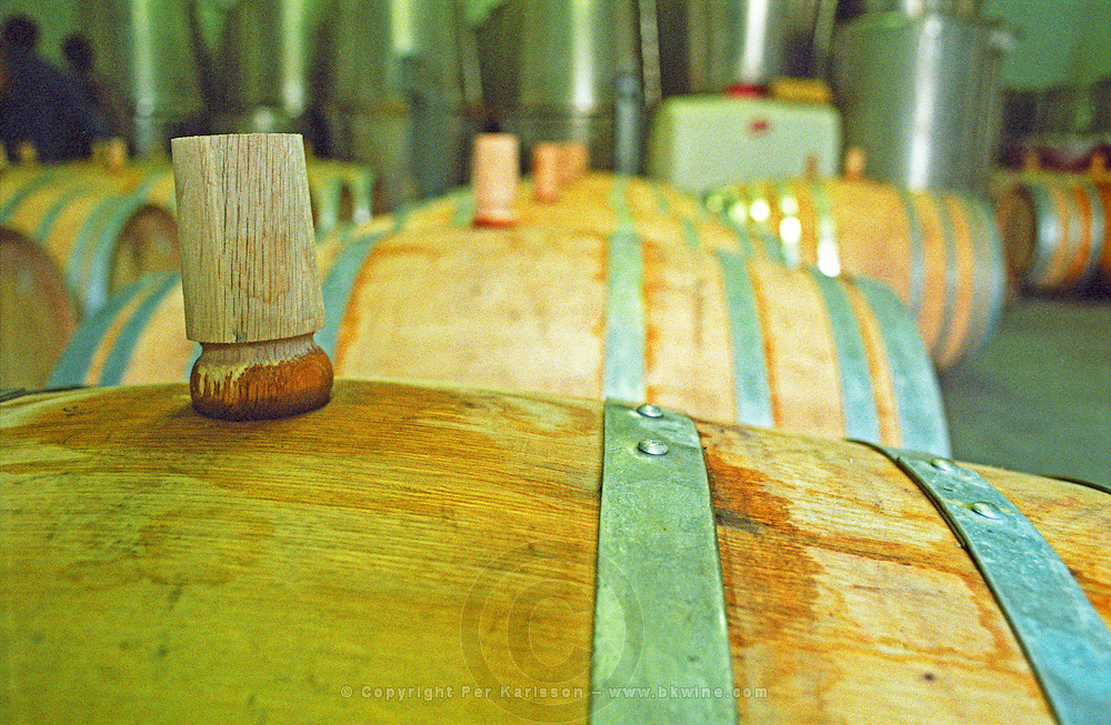 """The Royal Tokaji Wine Company winery: Wooden Barrels with fermenting tokaj wine in the winery. The RTWC in was one of the first Tokaj wineries to be """"revived"""" by an injection of foreign capital. It makes wine in a traditional style. Credit Per Karlsson BKWine.com"""
