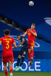 NICE, FRANCE - Wednesday, June 2, 2021: Wales' Chris Mepham (R) challenges for a header with France's Kylian Mbappé during an international friendly match between France and Wales at the Stade Allianz Riviera ahead of the UEFA Euro 2020 tournament. (Pic by Simone Arveda/Propaganda)