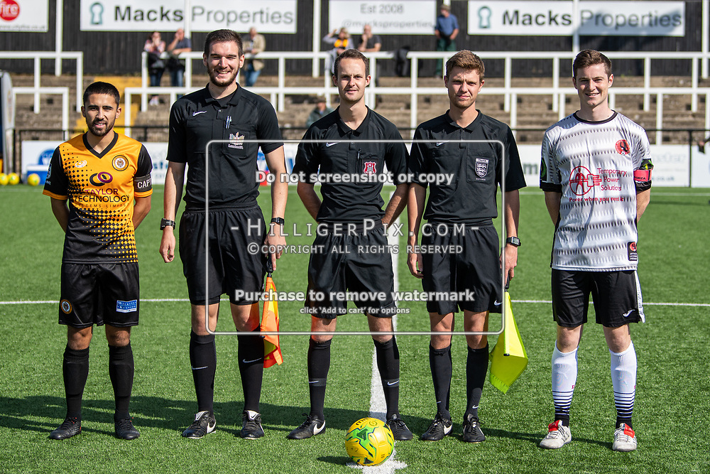 BROMLEY, UK - SEPTEMBER 08: Captains and match officials before the Emirates FA Cup First Qualifying Round match between Cray Wanderers FC and Bedfont Sports Club at Hayes Lane on September 8, 2019 in Bromley, UK. <br /> (Photo: Jon Hilliger)