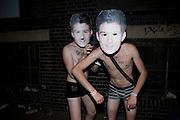 JOKESTERS ON THE STREET OUTSIDE, Rankin Retrospective. Truman Brewery. Brick Lane  London. 30 July 2009