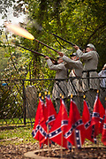 Confederate re-enactos fire a volly to honor falled soldiers at the Confederate Cemetery to mark Confederate Memorial Day on May 10, 2011 in Mount Pleasant, South Carolina.  South Carolina is one of three states that marks the day as a public holiday.