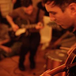 "The Walkmen (US) performing at the ""Soiree de poche #7"" (pocket night #7): a concert happening in an appartment in Paris, boulevard Magenta near Gare de l'Est. Organised by La Blogotheque.. .Feb. 2009, 11th / photo: Antoine Doyen"