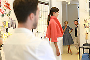 MANHATTAN, NEW YORK, AUGUST 7, 2014. Fashion designer Carolina Herrera is seen with Creative Director Herve Pierre during a pre-fashion week fitting at her offices in Manhattan, NY. 8/7/2014 Photo by Jennifer S. Altman/For The New York Times