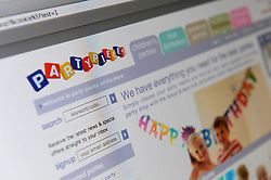A general view of The Partypieces website, the company owned by Michael and Carole Middleton parents of Kate Middleton.