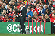 Middlesbrough Manager Aitor Karanka waves to the Middlesbrough  fans during the Sky Bet Championship match between Middlesbrough and Brighton and Hove Albion at the Riverside Stadium, Middlesbrough, England on 7 May 2016. Photo by Simon Davies.