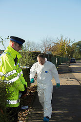 © Licensed to London News Pictures. 15/11/2013. London, UK. Burr Hill Chase, Southend, Essex. Detectives in Southend are investigating an incident where a man and a woman in their 80's were attacked at a property in Burr Hill Chase. The man unfortunately died at the scene the woman was taken to Southend Hospital. A 34 year old man who was known to the victims has been arrested at the seen and is being held in police custody. Photo credit : Simon Ford/LNP