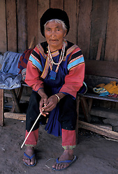 Asia, Thailand, Northern Thailand, near village of Pai, Woman of Lisu hill tribe in traditional dress