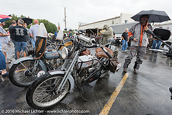 Hosted lunch in Parsons, Kansas where the remainder of the days ride was cancelled due to severe weather during the Motorcycle Cannonball Race of the Century. Stage-7 from Springfield, MO to Wichita, KS. USA. Friday September 16, 2016. Photography ©2016 Michael Lichter.
