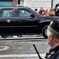 Il presidente americano Barack Obama arriva al Quirinale