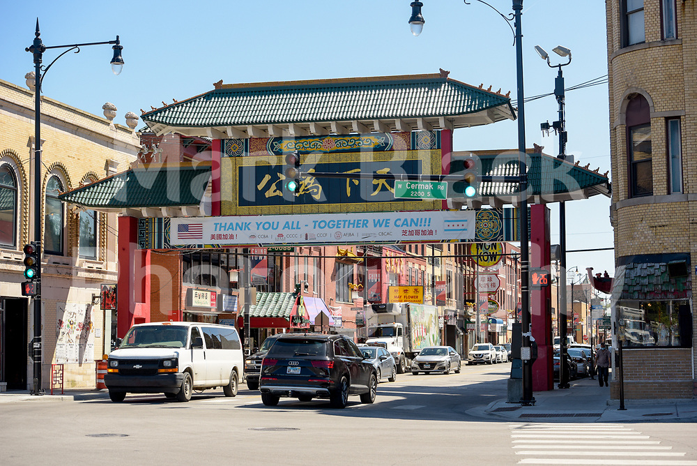 Chicago's Chinatown Gateway on South Wentworth Avenue on Wednesday, Aug. 19, 2020.  Photo by Mark Black
