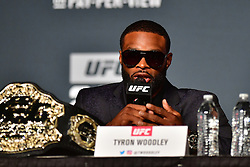 """Nov 10, 2016 - New York, New York, U.S. - Tyron """"The Chosen One"""" Woodley  vand Stephen """"Wonderboy"""" Thompson during press conference UFC 205  for the fans and media at the Madison Square Garden.  (Credit Image: ? Jason Silva/ZUMA Wire/ZUMAPRESS.com)"""
