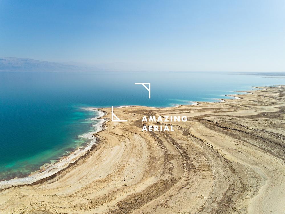 Aerial view of Dead Sea shoreline, Negev, Israel.