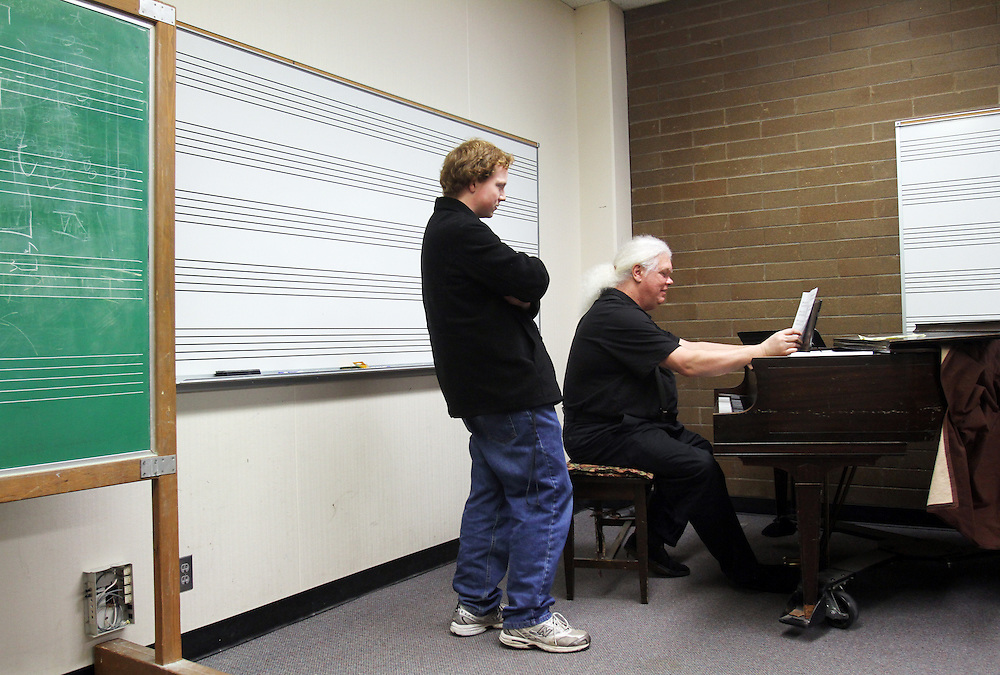 To grade his music students' finals, Marshall Tuttle plays their compositions in front of them on Monday, Dec. 12, 2011. No pressure! Here, Joey Boyer is judged at Mt. Hood Community College in Gresham.
