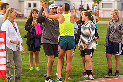 David Torrence celebrates with fans