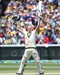 © Licensed to London News Pictures. 29/12/2013. Chris Rogers celebrates his 100 runs during Day 4 of the Ashes Boxing Day Test Match between Australia Vs England at the MCG on 29 December, 2013 in Melbourne, Australia. Photo credit : Asanka Brendon Ratnayake/LNP