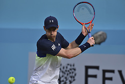 June 19, 2018 - London, England, United Kingdom - Britain's Andy Murrayplays against Australia's Nick Kyrgios during their first round men's singles match at the ATP Queen's Club Championships tennis tournament in west London on June 19, 2018. Britain's Andy Murray was beaten 2-6, 7-6 (7/4), 7-5 by Australian Nick Kyrgios in the Queen's Club first round. (Credit Image: © Alberto Pezzali/NurPhoto via ZUMA Press)