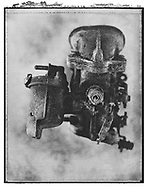 Solaroid - Metal Morphosing - Carburettor 6 - This is a solarised polaroid photo art print by Paul Williams who invented the technique and is the only photographer to have used it. The process is sadly no longer possible. Circa 1989,