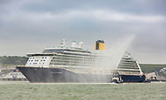 IMAGE PROVIDED FREE FOR EDITORIAL USE - NO SALES.<br /> <br /> Saga's brand new £300million British boutique cruise ship, Spirit of Discovery, sails into the port of Dover for the first time.<br /> <br /> Spirit of Discovery and her sister ship Spirit of Adventure, due to launch in August 2020, mark a pioneering new era for Saga cruises. They are the only small, new, luxury ships being built for the British market. At an overall length of 774.3ft and a beam of 102.4ft, Spirit of Discovery will sail up to 999 passengers around the world with over 500 crew aboard.<br /> <br /> Saga, the UK's only independent cruise shipping company, has shown its firm commitment to Britain by registering Spirit of Discovery in London and she will sail under the Red Ensign. She will be officially named in a glittering Garden Party and ceremony in Dover's Great Western Docks next Friday by HRH The Duchess of Cornwall.<br /> <br /> Picture date Friday 28th June, 2019.<br /> <br /> Further information on Saga and Spirit of Discovery is available from Rhona Gardiner, PR Manager for Saga Spirit of Discovery<br /> on +44 (0)7740 410052 or on email Rhona.Gardiner@embolden.agency<br /> <br /> Picture by Christopher Ison. Contact +447544 044177 chris@christopherison.com