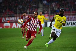 November 8, 2018 - Athens, Attiki, Greece - Giannis Fetfatzidis (no 10) of Olympiacos and Jerry Prempeh (no 26) of F91 Dudelange vies for the ball..Olympiacos has won F91 Dudelange 5-1 for the UEFA Europa League. (Credit Image: © Dimitrios Karvountzis/Pacific Press via ZUMA Wire)
