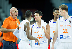 Toon van Helfteren, head coach of Netherlands, Charlon Kloof of Netherlands, Arvin Slagter of Netherlands, Mohamed Kherrazi of Netherlands, Robin Smeulders of Netherlands during basketball match between Netherlands and Macedonia at Day 2 in Group C of FIBA Europe Eurobasket 2015, on September 6, 2015, in Arena Zagreb, Croatia. Photo by Vid Ponikvar / Sportida