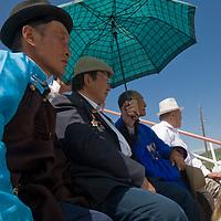 Spectators enjoy a naadam festival at Zuunmod, Mongolia, near Ulaanbaator.