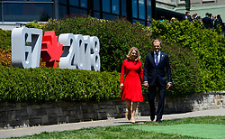 President of the European Council, Donald Tusk, and wife Malgorzata Tusk make their way to be greeted by Prime Minister Justin Trudeau and wife Sophie Gregoire Trudeau during the official welcoming ceremony at the G7 Leaders Summit in La Malbaie, Quebec, Canada on Friday, June 8, 2018. Photo by Sean Kilpatrick/CP/ABACAPRESS.COM