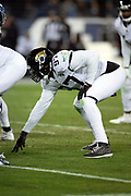 Jacksonville Jaguars defensive tackle Malik Jackson (97) gets set in a three point stance during the week 14 regular season NFL football game against the Tennessee Titans on Thursday, Dec. 6, 2018 in Nashville, Tenn. The Titans won the game 30-9. (©Paul Anthony Spinelli)