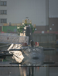 (c) Licenced to London News Pictures 09/04/2015. Barrow-in-Furness, Cumbria, England. General views of the Artful submarine moored at BAE Systems in Barrow. The Trident nuclear submarine project, which is planned to be built by BAE Systems in Barrow, has an uncertain future due to the potential of a Labour/SNP government. Photo credit : Harry Atkinson/LNP