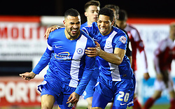Peterborough United's Kyle Vassell celebrates scoring - Photo mandatory by-line: Joe Dent/JMP - Tel: Mobile: 07966 386802 05/02/2014 - SPORT - FOOTBALL - Peterborough - London Road Stadium - Peterborough United v Swindon Town - Johnstone's Paint Trophy