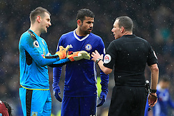 12th February 2017 - Premier League - Burnley v Chelsea - Burnley goalkeeper Thomas Heaton and Diego Costa of Chelsea talk to the referee Kevin Friend - Photo: Simon Stacpoole / Offside.