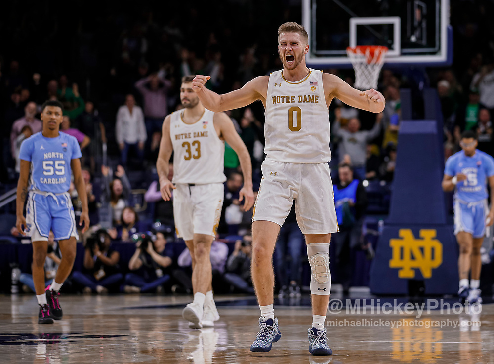 SOUTH BEND, IN - FEBRUARY 17: Rex Pflueger #0 of the Notre Dame Fighting Irish celebrates following the game against the North Carolina Tar Heels at Purcell Pavilion on February 17, 2020 in South Bend, Indiana. (Photo by Michael Hickey/Getty Images) *** Local Caption *** Rex Pflueger