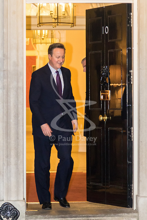 Downing Street, London, February 4th 2016. President of the European Parliament Martin Schulz meets with British Prime Minister David Cameron at 10 Downing Street. PICTURED: David Cameron emerges from 10 Downing Street to greet Martin Schulz. ///FOR LICENCING CONTACT: paul@pauldaveycreative.co.uk TEL:+44 (0) 7966 016 296 or +44 (0) 20 8969 6875. ©2015 Paul R Davey. All rights reserved.