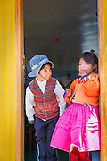 Children at School on the Floating islands of Lake Titicaka, Puno, Peru, South America