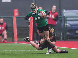 Ireland women's Megan Williams is tackled by Wales women's Hannah Bluck<br /> <br /> Photographer Craig Thomas/Replay Images<br /> <br /> International Friendly - Wales women v Ireland women - Sunday 21th January 2018 - CCB Centre for Sporting Excellence - Ystrad Mynach<br /> <br /> World Copyright © Replay Images . All rights reserved. info@replayimages.co.uk - http://replayimages.co.uk